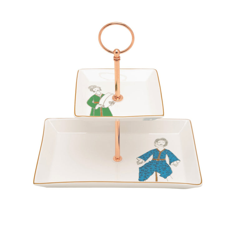 L'atelier Party 2 Levels Square Plate with Holder - TC 4714 015