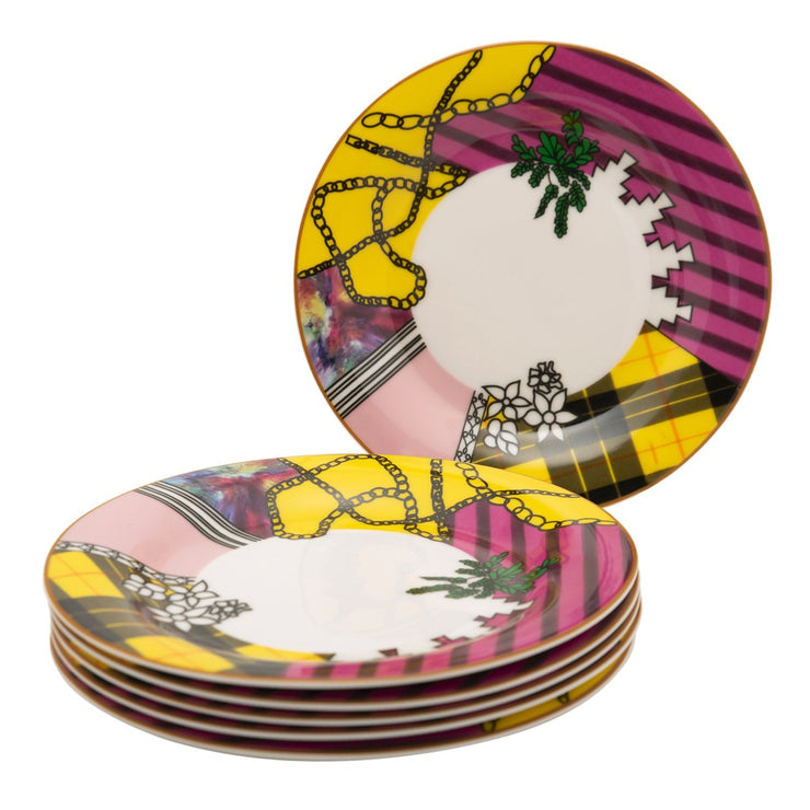 L'atelier Design Coupe Shape Dessert Plate Set - 20 x 20 cm, 6 Pieces - TC 4719 018