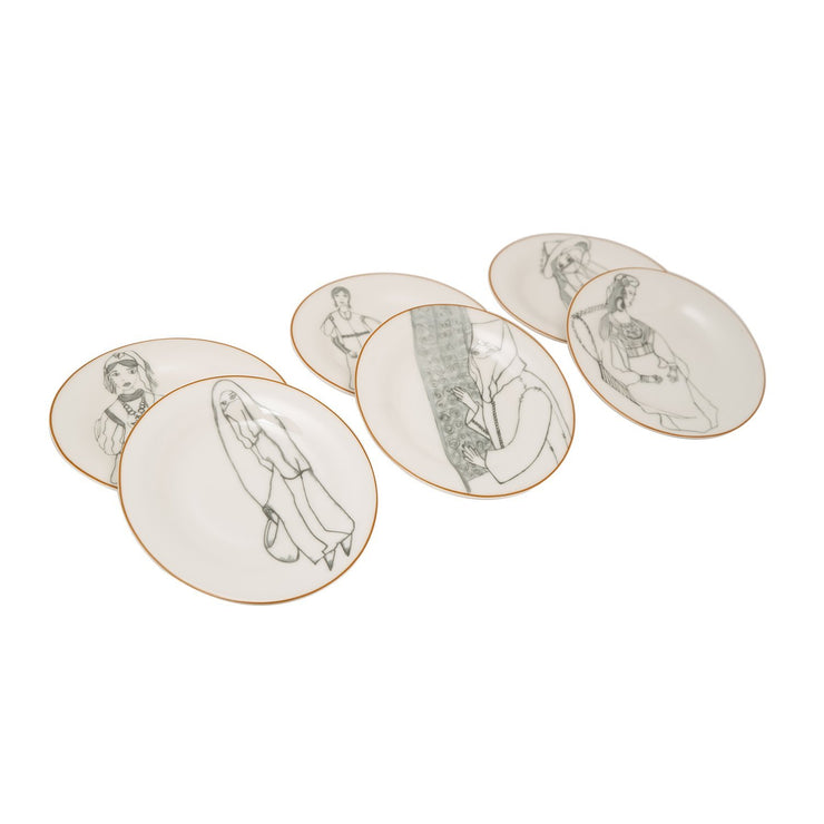 L'atelier FB Zaman Coupe Shape Round Cookies Plate Set - 16 cm, 6 Pieces - TC 4712 010