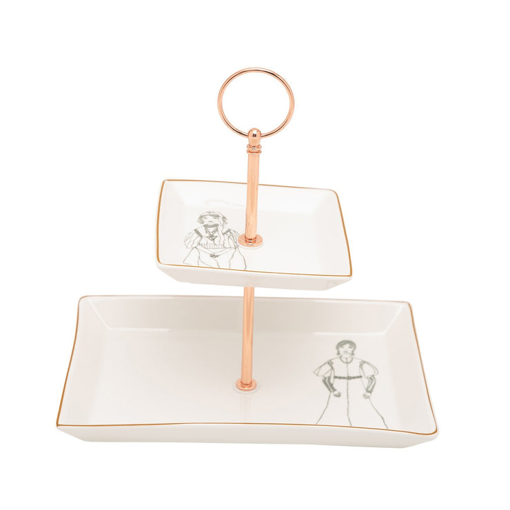 L'atelier Zaman 2 Levels Square Plate with Holder - TC 4712 015