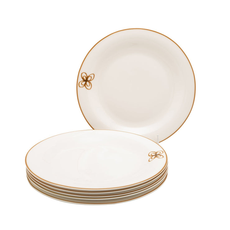 L'atelier Embroidery Coupe Shape Dinner Plate Set - 26.5 x 26.5 cm, 6 Pieces - TC 4715 010