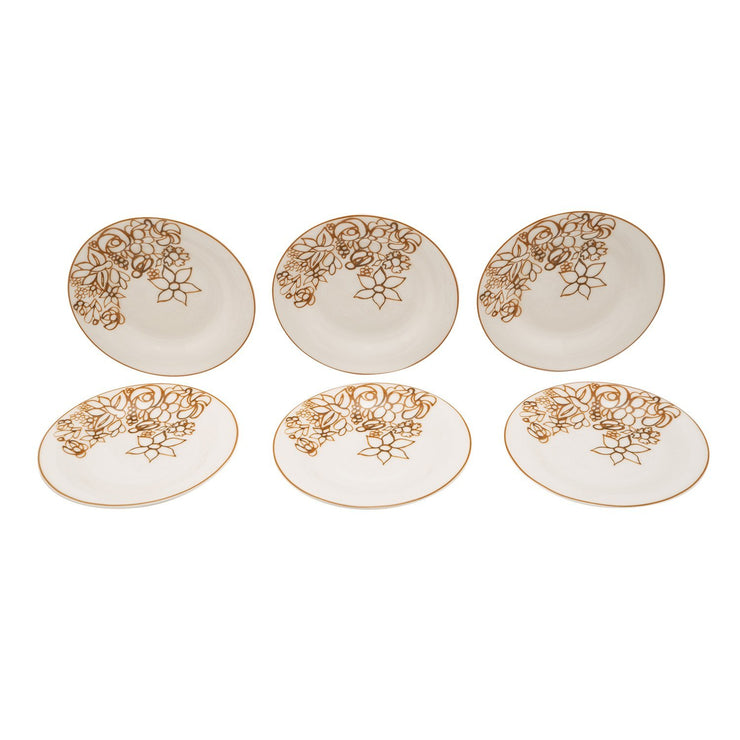 L'atelier Embroidery Coupe Shape Round Cookies Plate Set - 16 cm, 6 Pieces - TC 4715 013