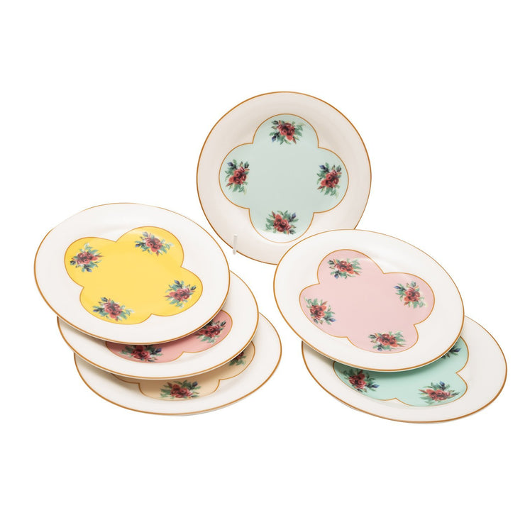 L'atelier Pastel Coupe Shape Dessert Plate Set - 20 x 20 cm, 6 Pieces - TC 4717 012