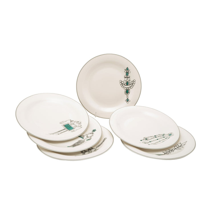 L'atelier Emerald Coupe Shape Dinner Plate Set - 26.5 x 26.5 cm, 6 Pieces - TC 4711 010