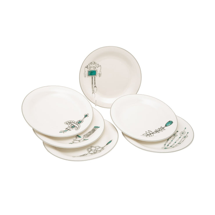 L'atelier Emerald Coupe Shape Salad Plate Set - 23 x 23 cm, 6 Pieces - TC 4711 011