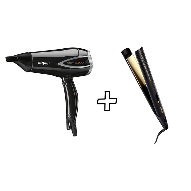 BABYLISS STRAIGHTENER 35MM GOLD 3 TEMP LCD & EXPERT DC DRYER 2200W BUNDLE