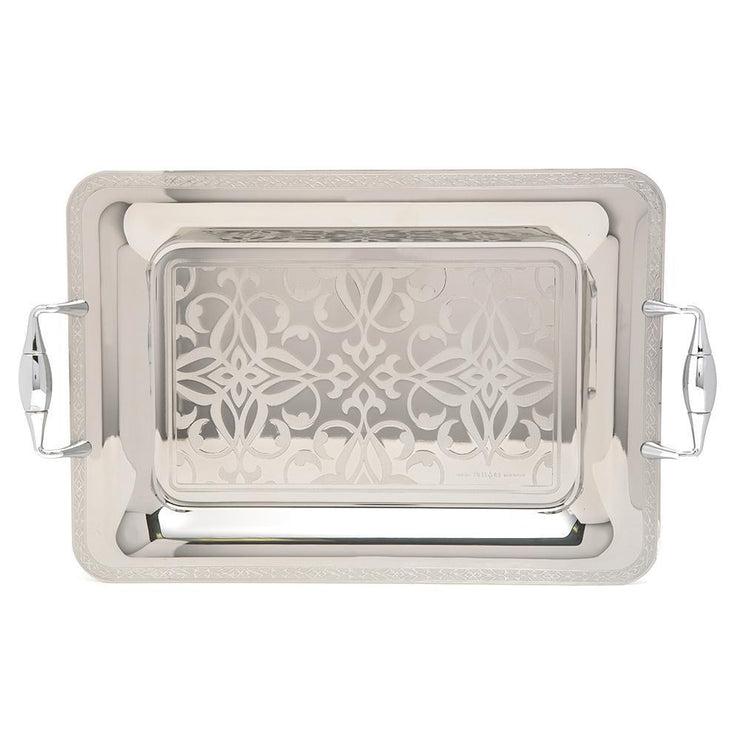 Brignani Laurence Inox Rectangle Tray - Silver, 40 x 28 cm - RO-1400/2/LAU-I