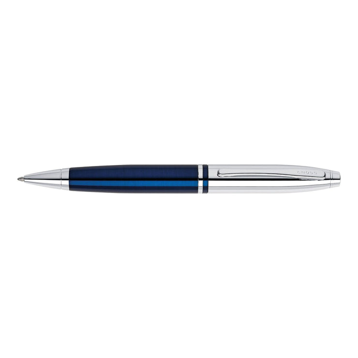 A. T. Cross Calais Chrome and Blue Lacquer Ballpoint Pen - AT0112-3 - Jashanmal Home