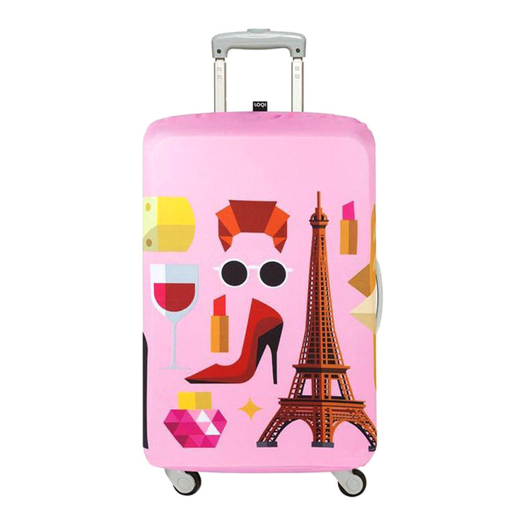 Loqi Artist Hey Studio Paris Luggage Cover - Pink, Small - LS.HEY.PA - Jashanmal Home