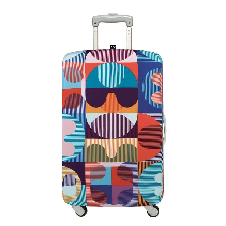 Loqi Artist Hvass and Hannibal Grid Luggage Cover - Multicolour, Small - LS.HH.GR - Jashanmal Home