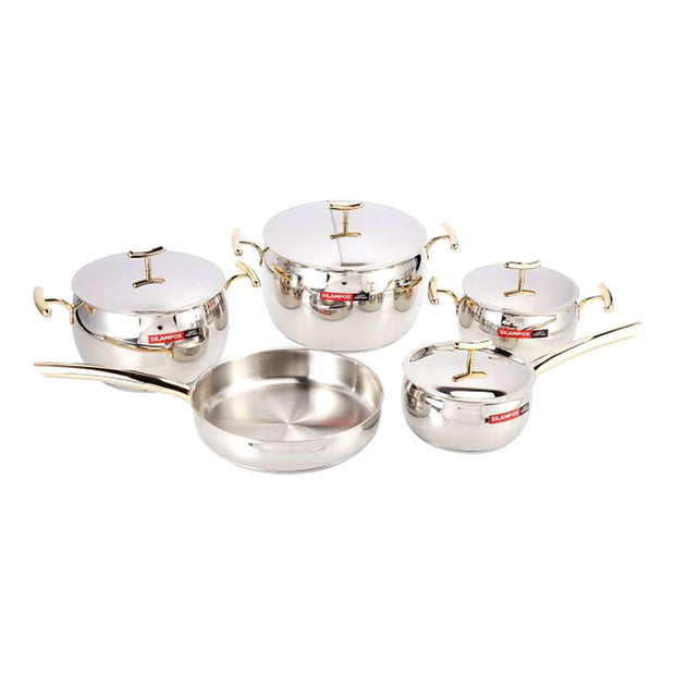 Silampos Yumi 9 Piece Cookware Set - Silver and Gold - 636122AC0155 - Jashanmal Home