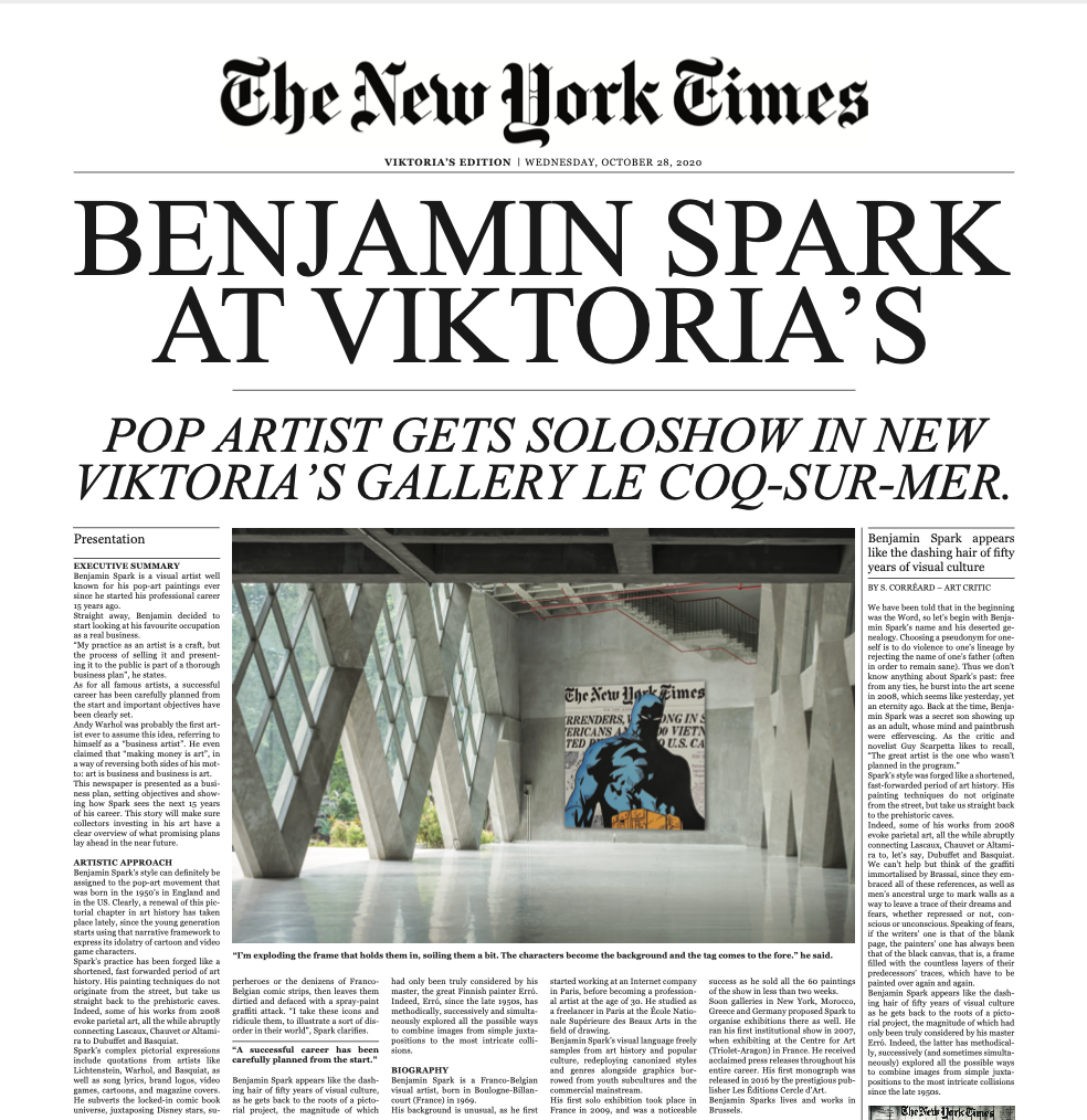 Limited Edition Benjamin Spark Business Plan in Newspaper format.
