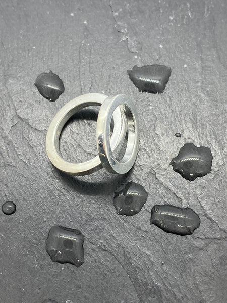 Double round ring in silver or brass
