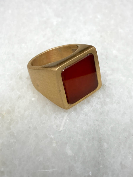 Quadrato ring in bronze with carnelian stone