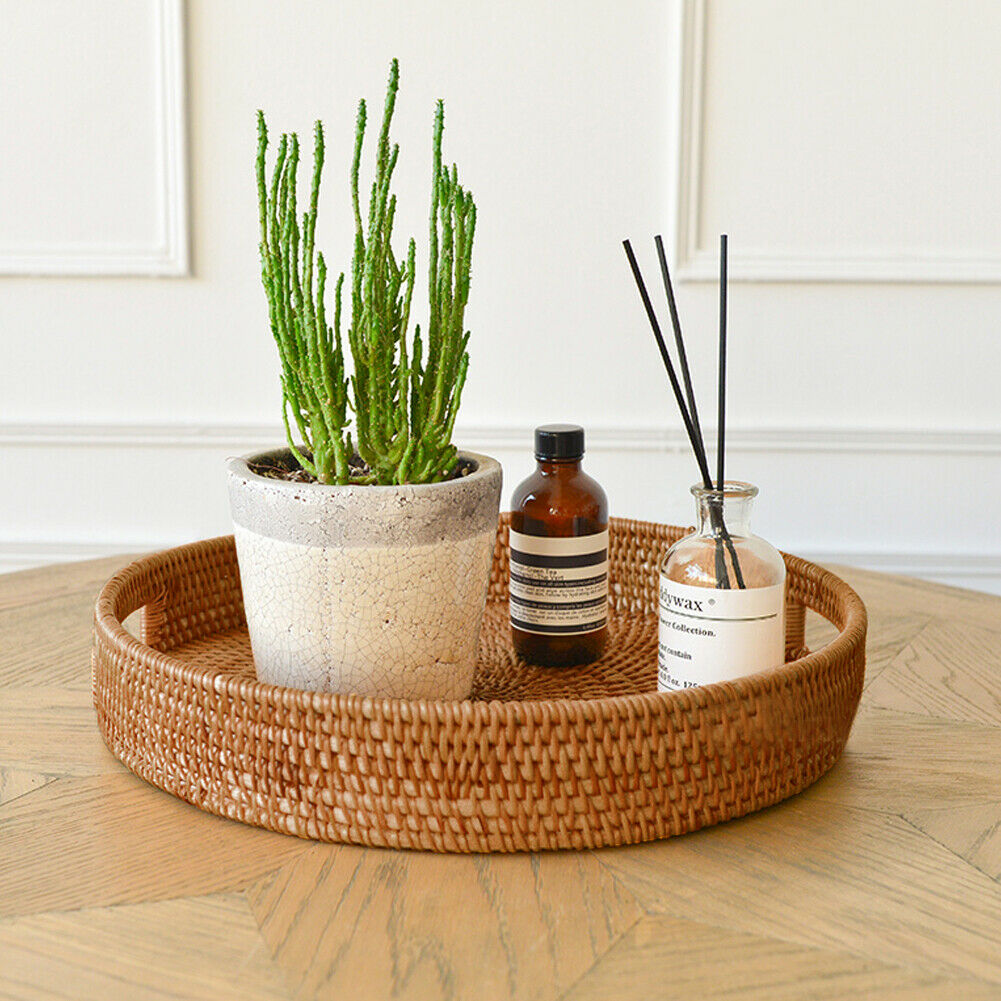 Hand Woven Rattan Tray - Bargainzar Boho Home Decor Online