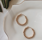Load image into Gallery viewer, Minimal Classic Iconic Chic Everyday Easy To Wear Lightweight Gold Beaded Hoops