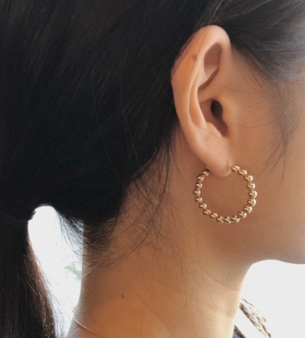 Minimal Classic Iconic Chic Everyday Easy To Wear Lightweight Gold Beaded Hoops