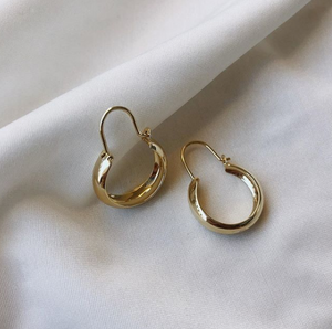 14K Gold Teardrop Hoops
