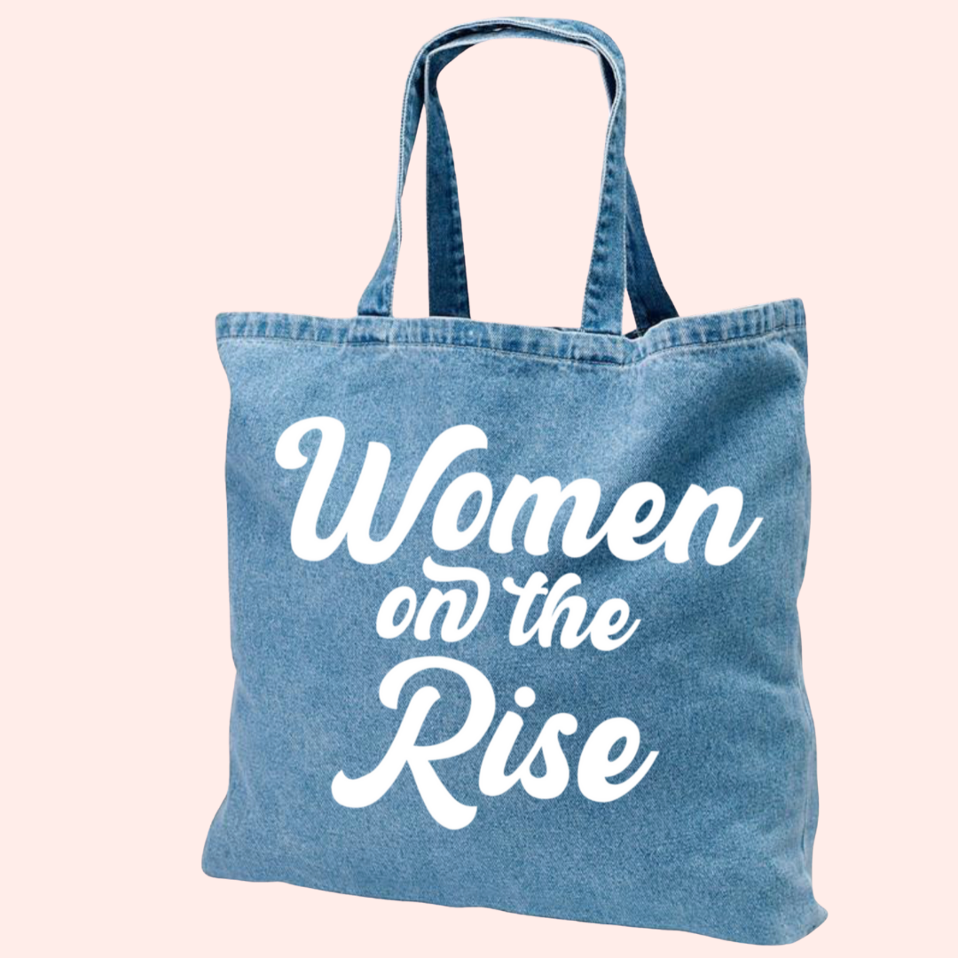 Women on the Rise Puff Denim Tote Bag