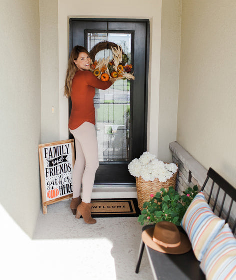 Front Porch Fall Decorating with Old Time Pottery