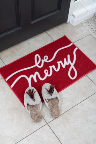 be merry, rug, kitchen mat, holiday rugs