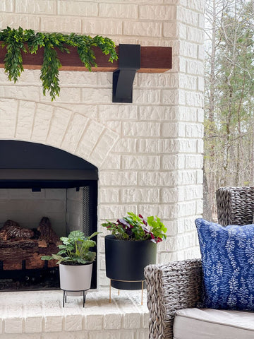 planters, fireplace, outdoor decorating