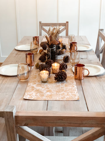 table runner, centerpiece, dinnerware, thanksgiving