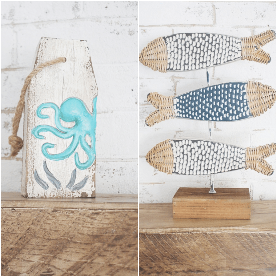 a simple wooden octopus block and adorable fish stand