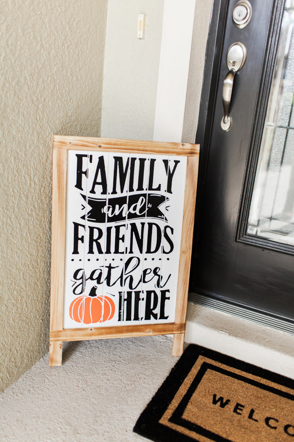 family and friends gather here, front porch, welcome mat, fall decor