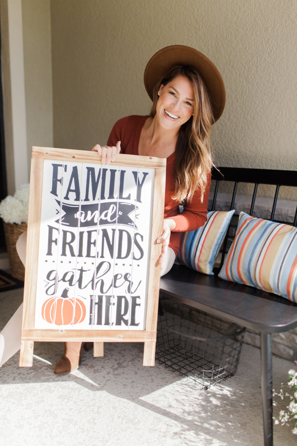 influencer, fall, gather here, gather sign, wall art
