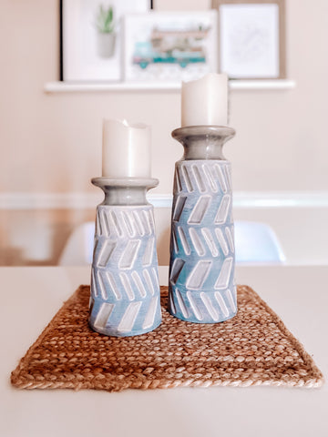 placemat, centerpiece, candle holders
