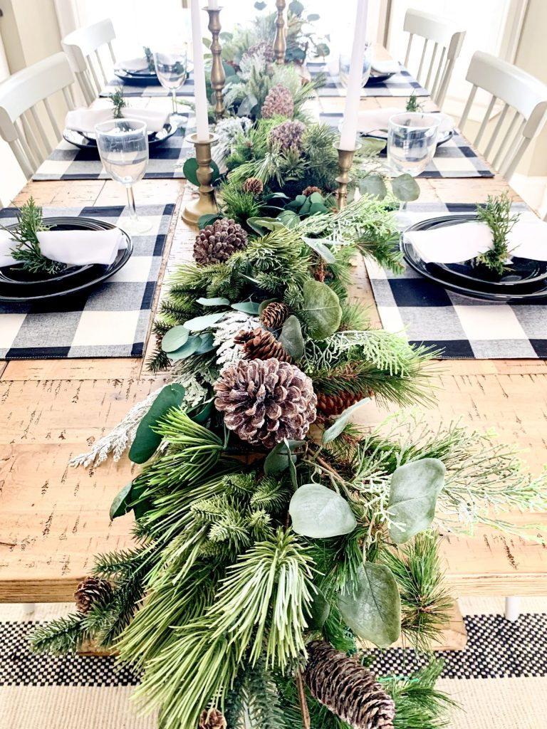 Greenery centerpiece on table