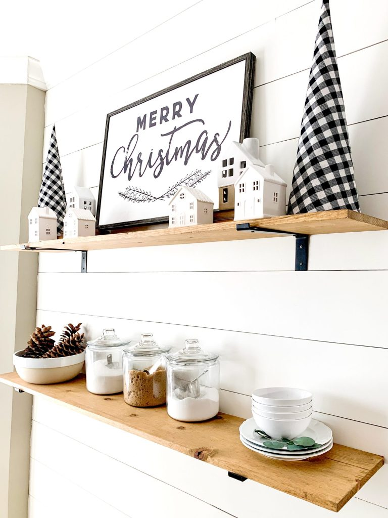 kitchen shelves with Christmas decor