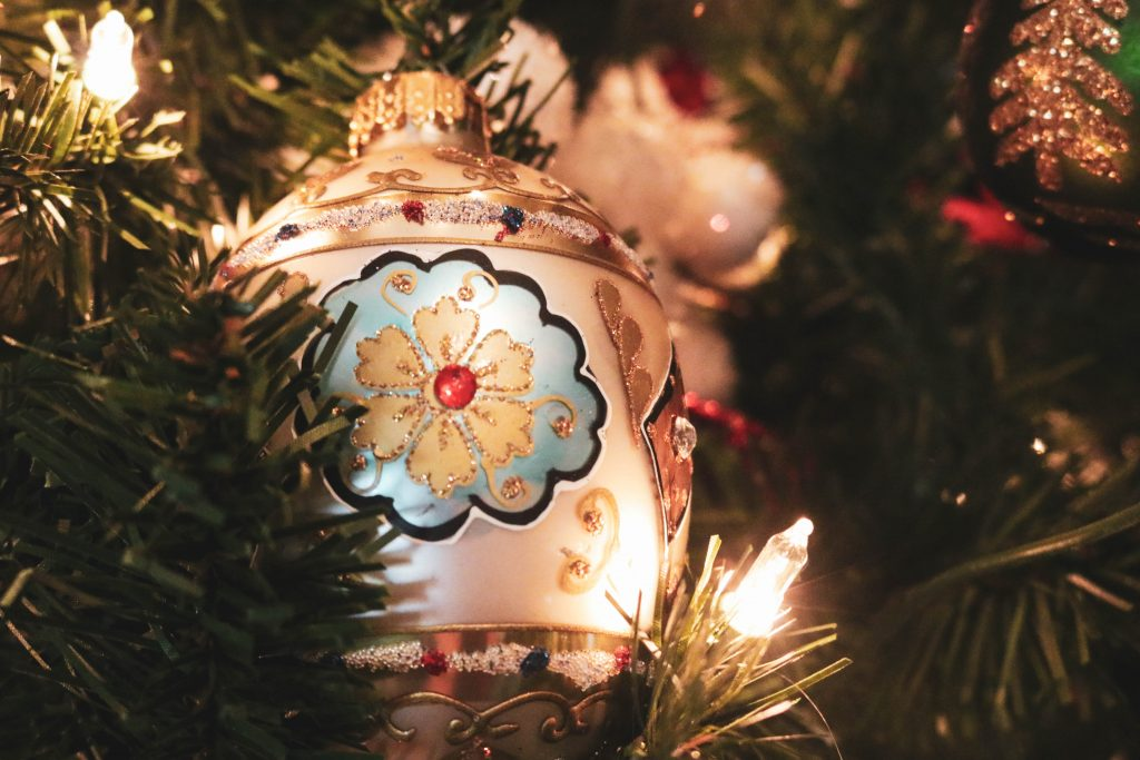 An ornate and sparkly Christmas ornament