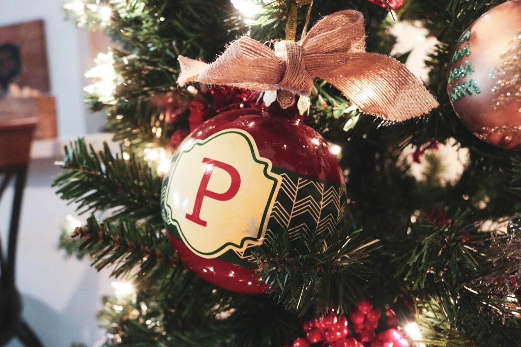 A lovely lettered Christmas tree ornament