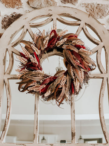 mirror, fall wreath, decorating for fall