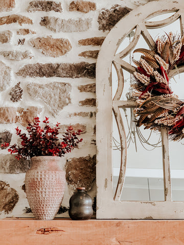 pottery, vase, fall floral, wall decor, wreath