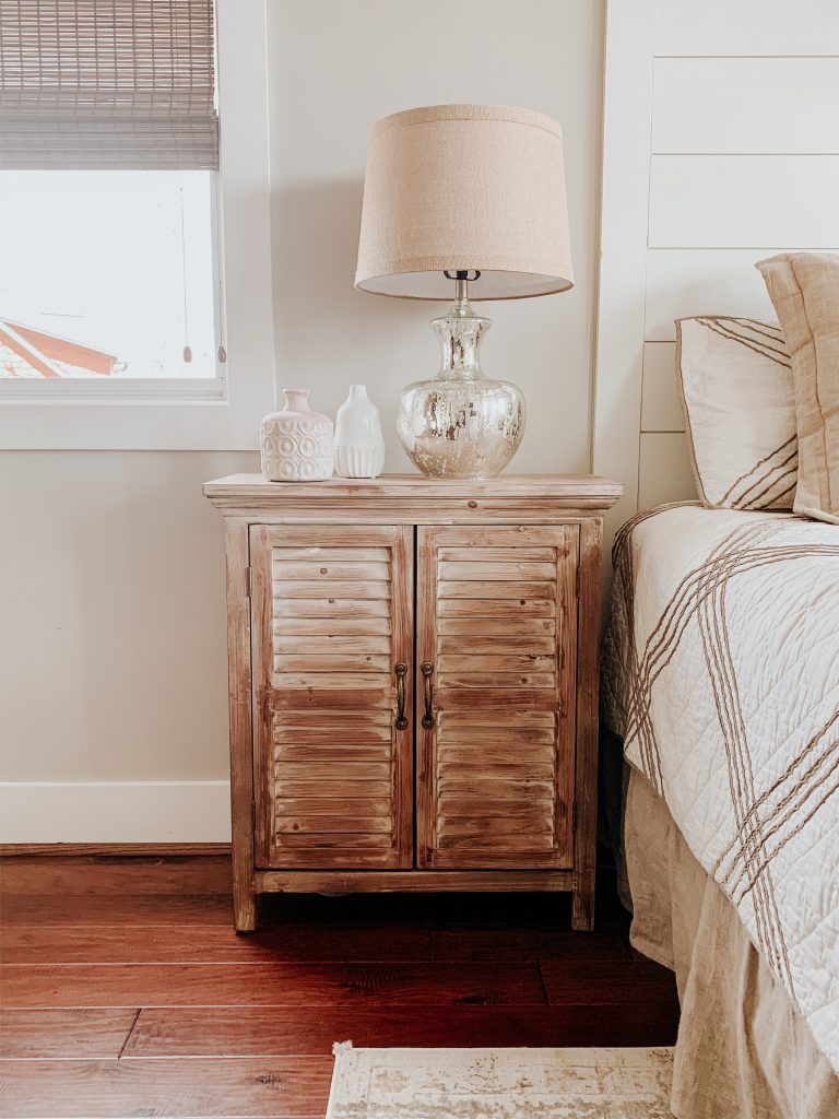 Light brown wooden nightstands from Old Time Pottery