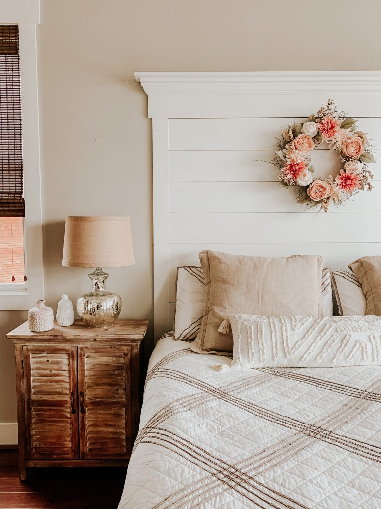 A brigther, cheerier bedroom with lively accents