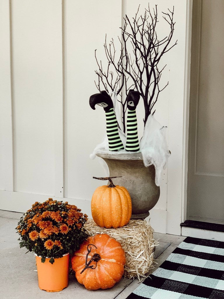 witch, pumpkins, mums, doormat, front porch