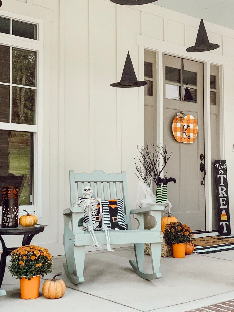 spooky, skeleton, halloween decor, front porch decor, fall inspiration