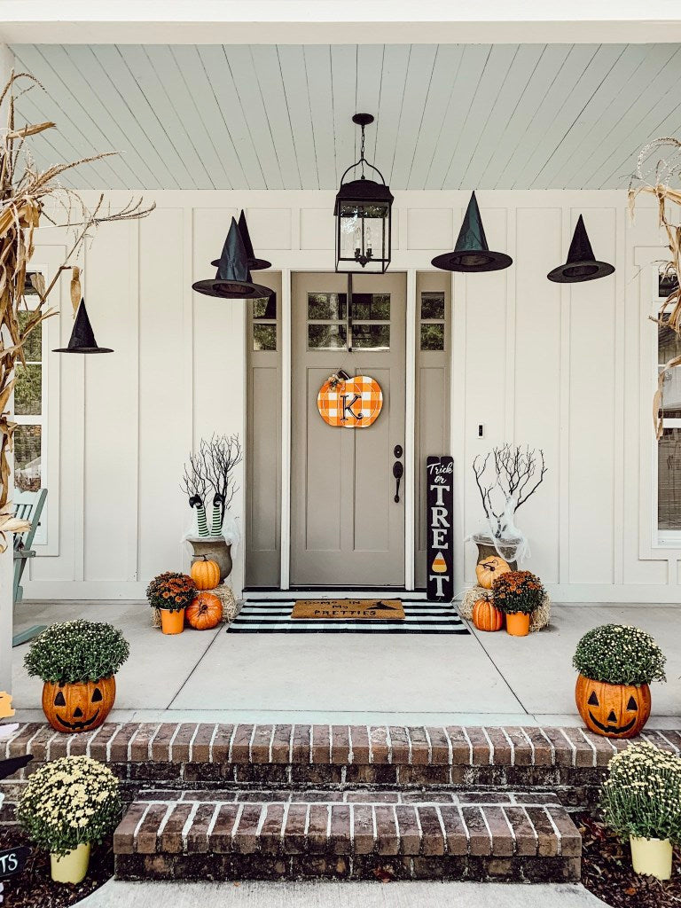 front porch decor, pumpkins, fall decor