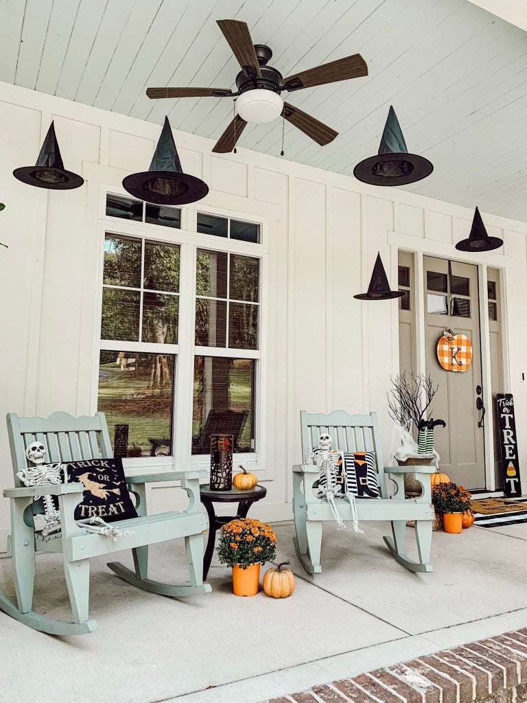 front porch, chairs, skeletons, witch hats