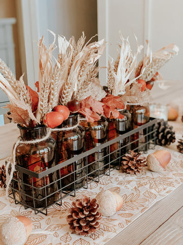 DIY Thanksgiving centerpiece, fall floral, vases