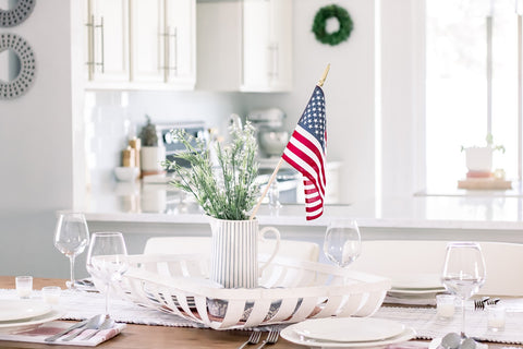 American flag centerpiece, Fourth of July decorations, summer entertaining, dinnerware