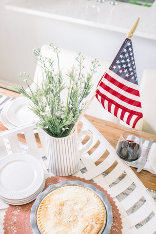 American flag, centerpiece, Fourth of July decorations, summer tablescape
