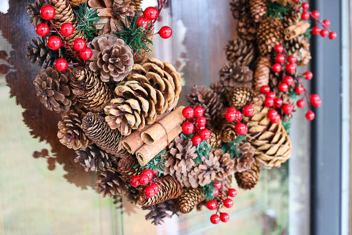 pinecones on a wreath