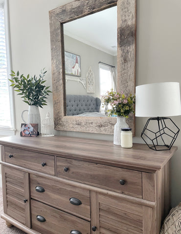 home accent, mirrors, greenery, planters, lamps