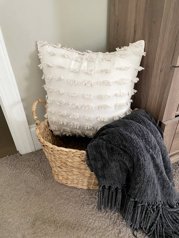 throw pillow, wicker basket, blanket, soft home, cozy home