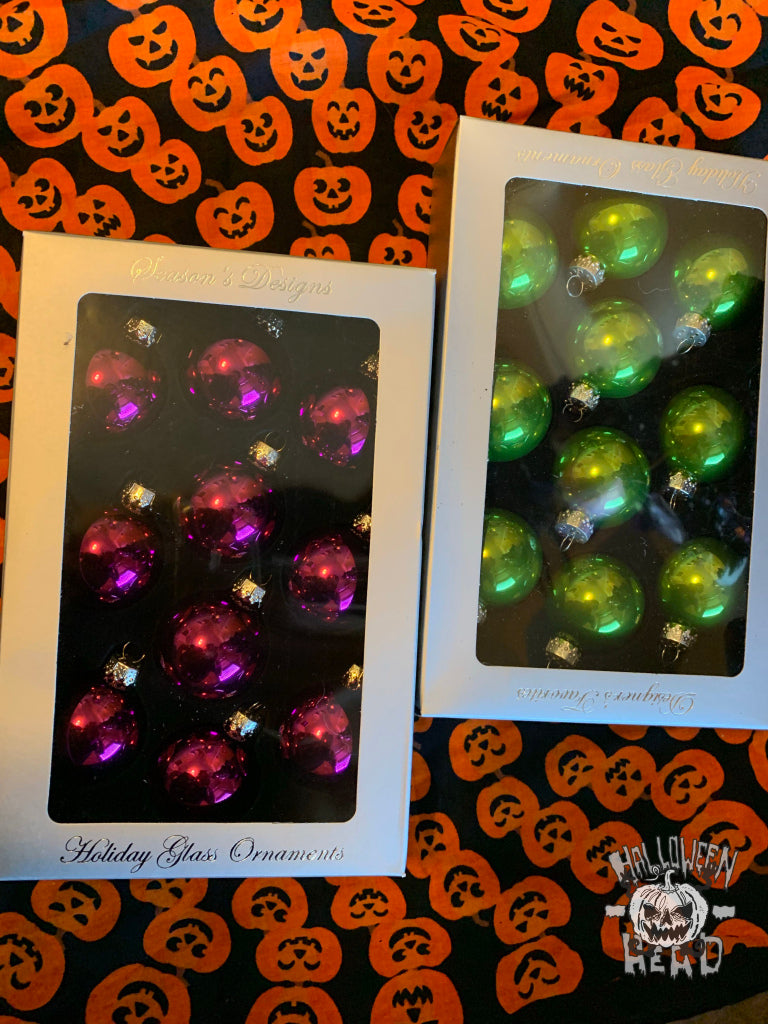 sparkly purple and green ornaments for pops of color